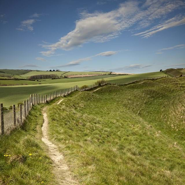 Iron Age hill fort of Maiden Castle in Dorset