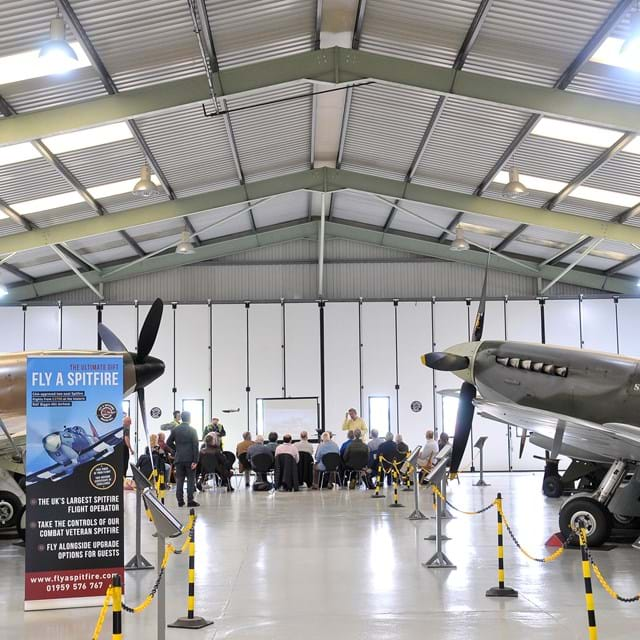 Spitfires in hangar (Photo by John Goodman)