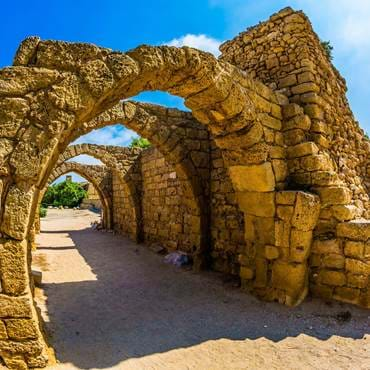 The remains of the covered arcades in ancient Caesarea