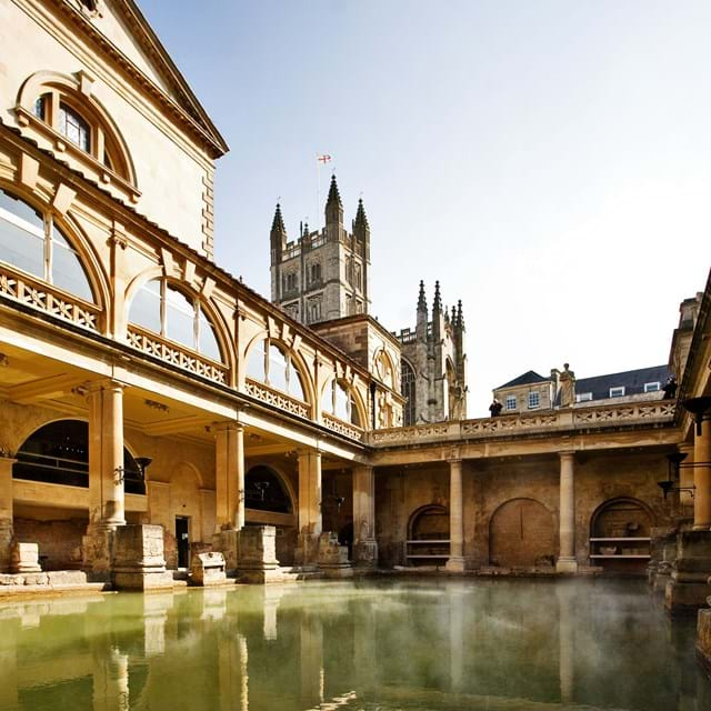 Gazing out at the Roman baths in Bath's city centre