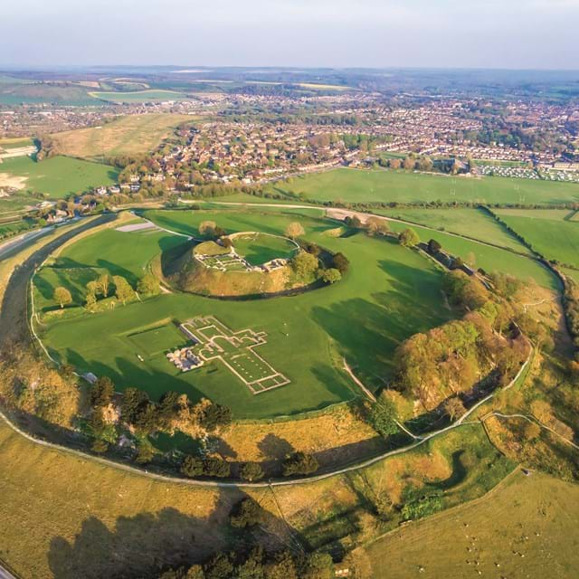 Aerial view of Old Sarum in England