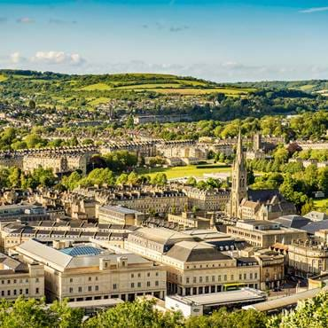 Views over the charming city of Bath, known for its light-coloured stone buildings