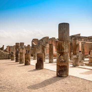 Ruins of stone columns at the site of Pompeii