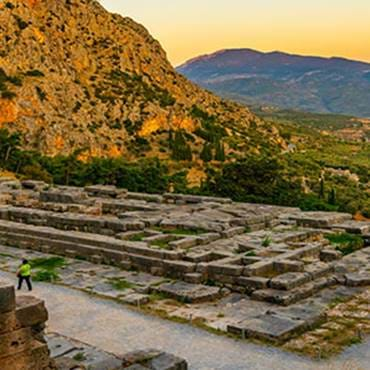 Ruins of the Temple of Apollo at the site of Delphi, Greece